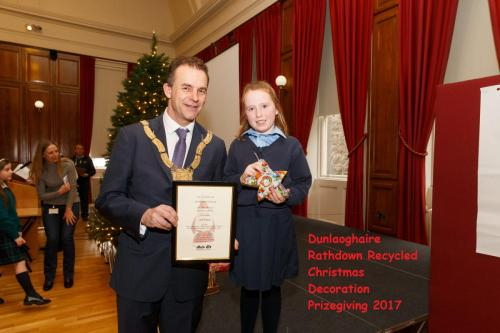 7th December 2017 - Pictured at the presentation of prizes for Dún Laoghaire-Rathdown County's Recycled Christmas Decoration Competition which encouraged schoolchildren from across the county to make use of recyclable materials were, left to right,Phot
